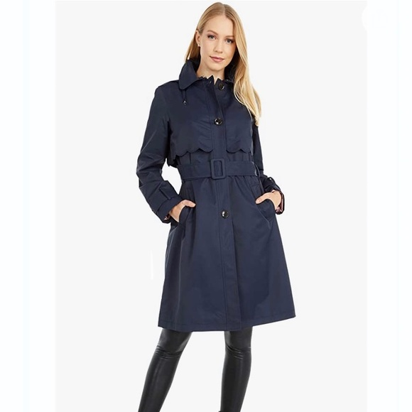🤩NEW Kate Spade Scalloped Belted Hood Trench Coat
